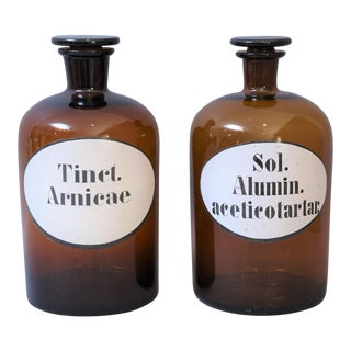 Large French Apothecary Pharmacy Jars / Bottles - a Pair For Sale