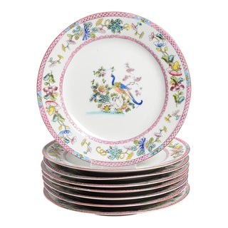 Noritake Pink with Bird of Paradise Salad Plates - Set of 8 For Sale