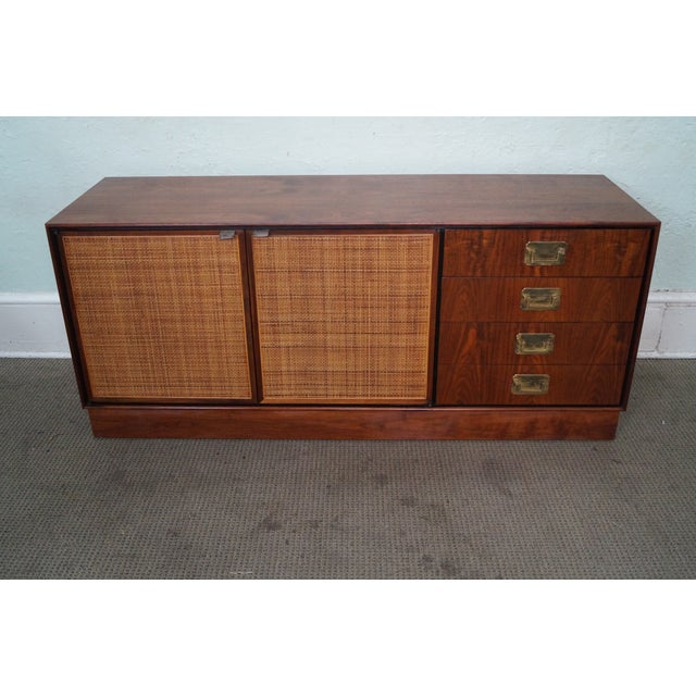 Store Item #: 13133 Mid Century Modern Walnut Cane Door Credenza withDrawers AGE/COUNTRY OF ORIGIN: Approx 50 years,...