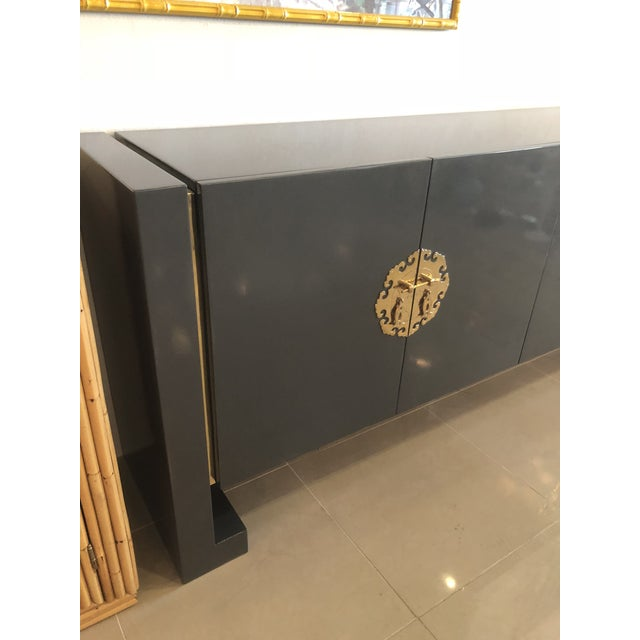 Gold Vintage Hollywood Regency Century Furniture Grey Lacquered Brass Credenza Buffet Sideboard For Sale - Image 8 of 13