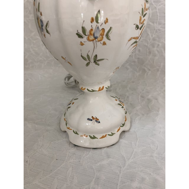 French 1980s Vintage French Moustiers France Hand Painted Faience Signed Table Lamp For Sale - Image 3 of 11