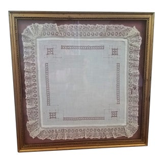 Antique Framed Belgian Lace Handerchief For Sale