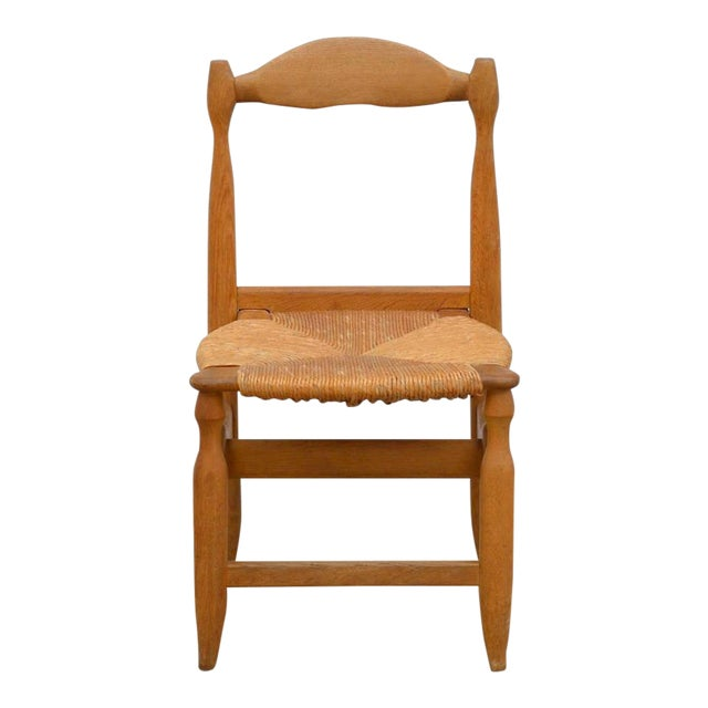 Rare Set of 12 Guillerme Et Chambron Blond Oak and Rush Chairs For Sale