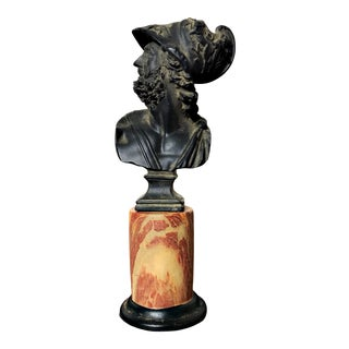 1940s Vintage Grand Tour Inspired Marbleized Column Roman Warrior Bust For Sale