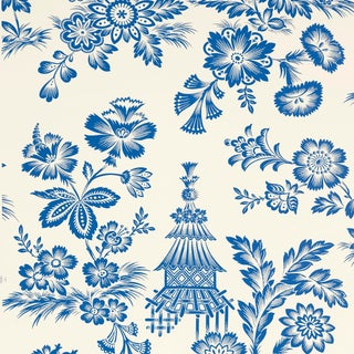 Schumacher Song Garden Wallpaper in Porcelain For Sale