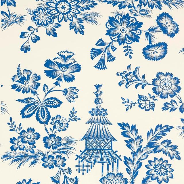 Schumacher Song Garden Wallpaper in Porcelain For Sale