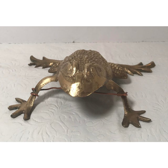 Mid 20th Century Vintage Brass Frog Figurine For Sale - Image 5 of 9