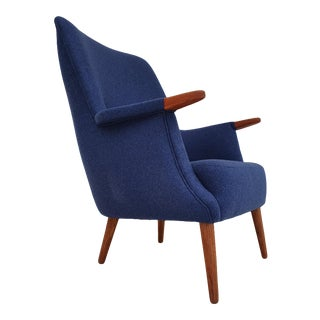 Vintage Danish High Back Armchair in Wool and Teak Wood, 1960 For Sale