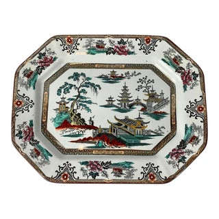 English Ironstone Cut Corner Platter With Chinoiserie Scenes For Sale