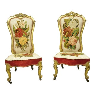 Antique French Victorian Gold Gilt Rococo Revival Slipper Parlor Chairs - a Pair For Sale