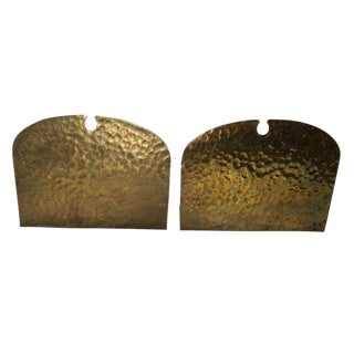 Frost Arts and Crafts Hammered Brass Bookends - a Pair For Sale