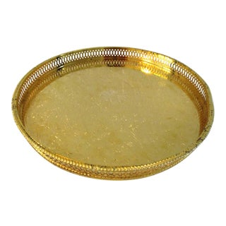 English Sheffield Gold Gallery Tray For Sale