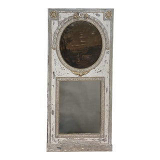18th Century Country French Provincial Painted Trumeau For Sale
