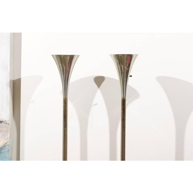 MCM Brass & Chrome Torchiere Floor Lamps - A Pair For Sale - Image 4 of 6