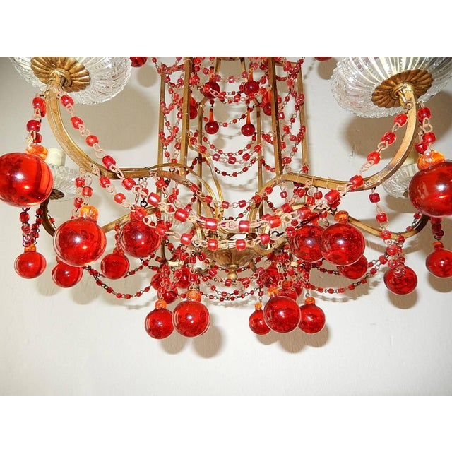 French Red Murano Ball and Chains Chandelier, circa 1940 For Sale - Image 9 of 11