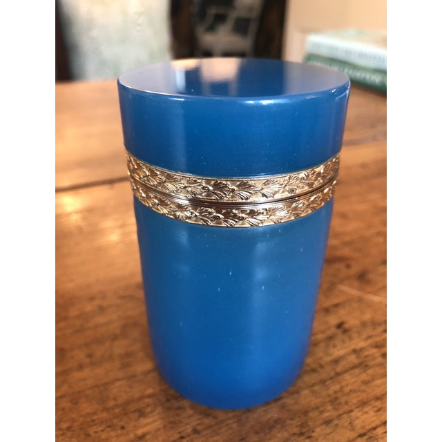 19th Century Blue Opaline Glass and Brass Cylindrical Box For Sale - Image 6 of 8