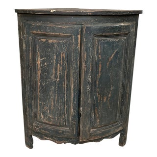 Antique French Distressed Painted Dark Green and Black Top Corner Cabinet For Sale