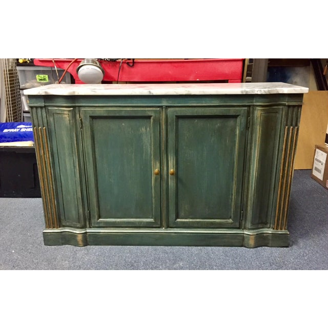 1950s Shabby Chic Marble Top Green Console Table For Sale - Image 11 of 11