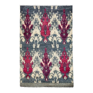 "Contemporary Ikat Hand Knotted Rug - 4' 7""x 7' For Sale"