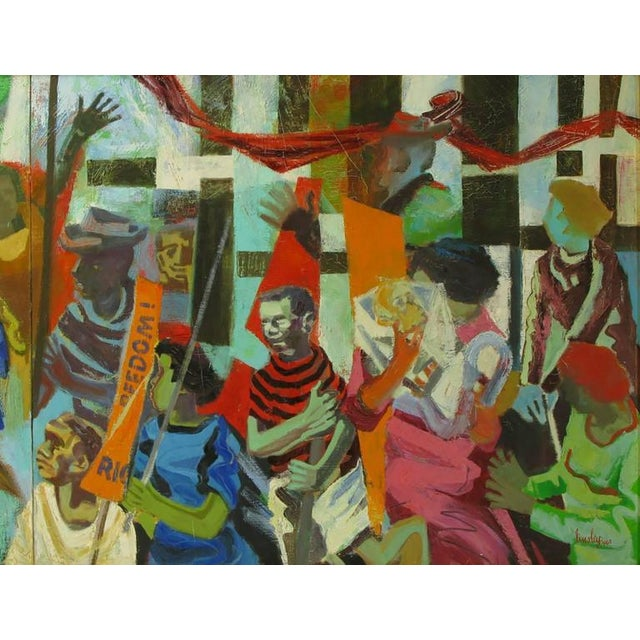 1960s Important 12.5' 1965 Civil Rights Mural by Joan Linsley (1922-2000) For Sale - Image 5 of 11