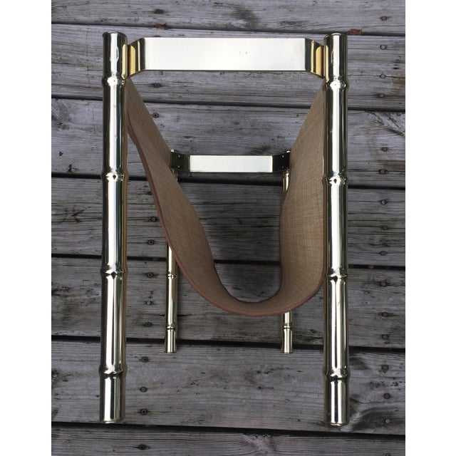 Brass Faux Bamboo Magazine Rack For Sale - Image 5 of 9