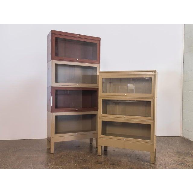 Vintage 1960s metal barrister stacking bookcases for Shaw Walker. A versatile and sturdy cabinet for all your storage...