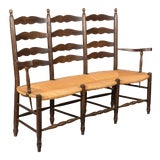 Image of French Country Bench With Rush Seat For Sale