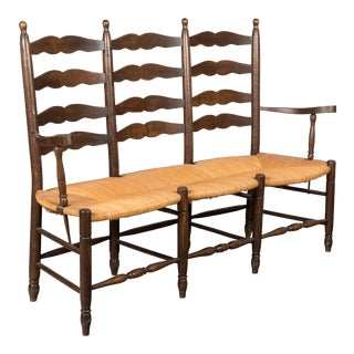 French Country Bench With Rush Seat For Sale