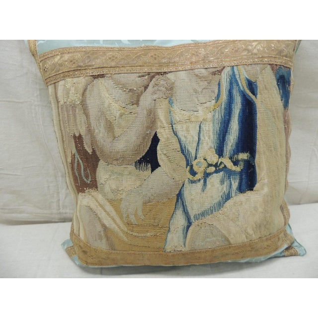 Antique Aubusson Tapestry Square Decorative Pillow For Sale - Image 4 of 9