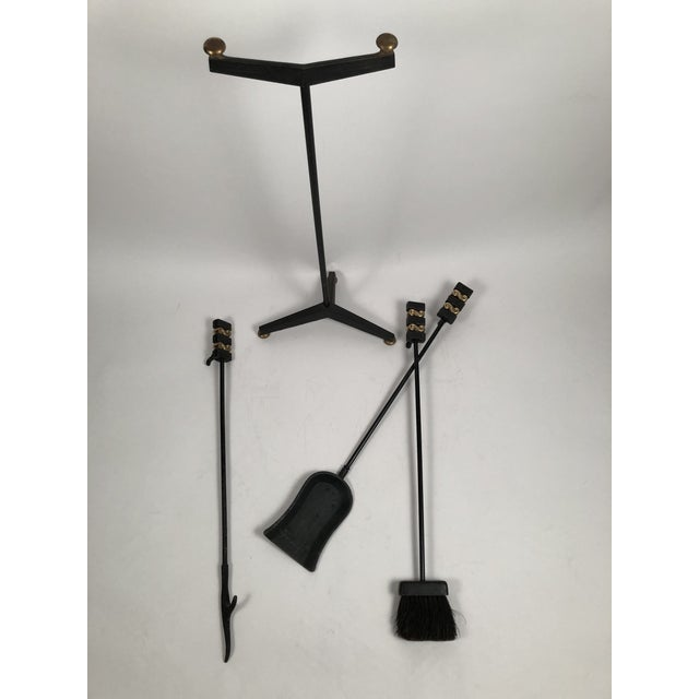 1940s Donald Deskey Andirons With Matching Firetool Set - Set of 6 For Sale In Boston - Image 6 of 13