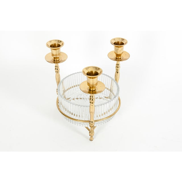 Mid-20th century gilt brass holding receptacle candlestick decorative piece / candy dish. The piece is in excellent...