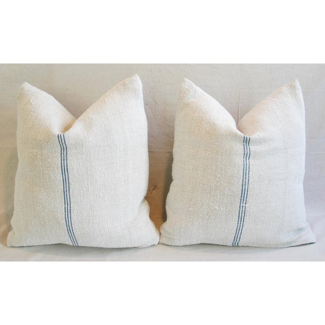 Custom French Grain Sack Down & Feather Pillows - Pair - Image 7 of 9