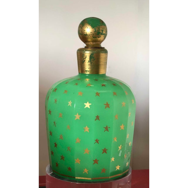19th Century Baccarat Green Opaline With Gold Stars Perfume Bottle For Sale In Dallas - Image 6 of 6
