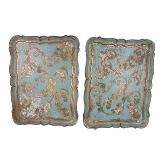 Gilt and Turquoise Blue Italian Florentine Trays - a Pair For Sale