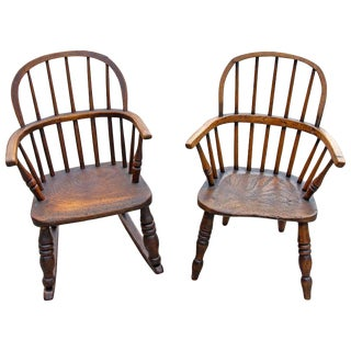 18th Century English Elm Windsor Children's Chairs- a Pair For Sale