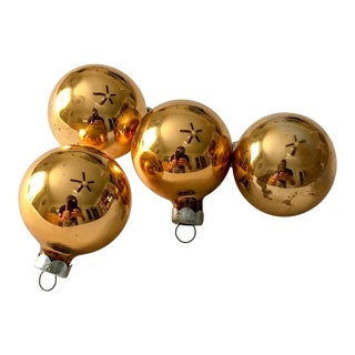 Gold Shiny Brite Ornaments, Set of 4 For Sale