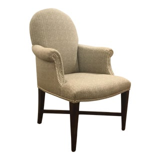Transitional Pearson Chocolate and White Herringbone Side Chair For Sale