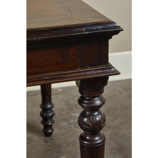 Brown 19th C French Colonial Desk With Burlwood Center Top For Sale - Image 8 of 11