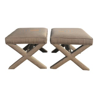 1970s Reupholstered X Base Ottomans by Johnathan Adler - a Pair For Sale