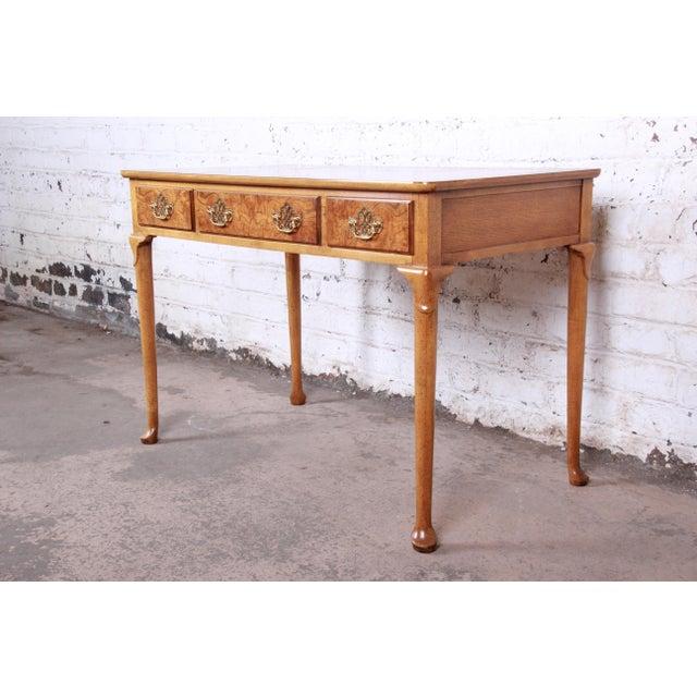 Baker Furniture Company Baker Furniture Queen Anne Burl Wood Writing Desk For Sale - Image 4 of 13