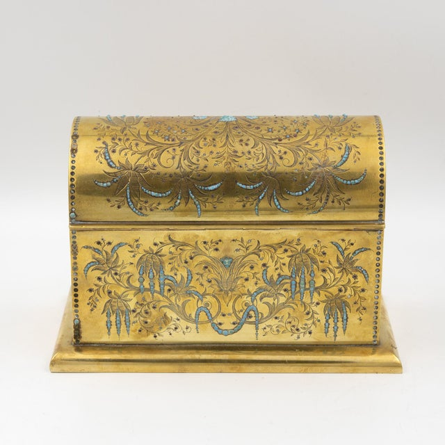 Rare Solid Brass Stationery Box Inlaid With Turquoise and Garnets, France, Circa 1860. For Sale - Image 10 of 11