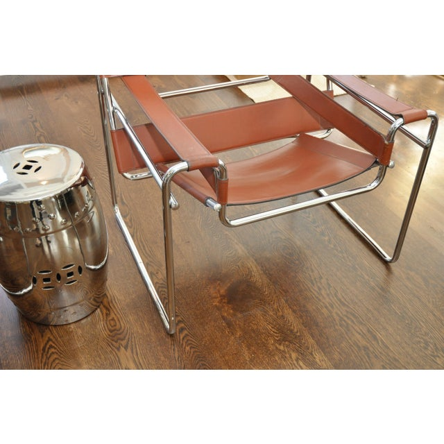 Reproduction Mid-Century Wassily Leather & Chrome Chairs - Pair - Image 7 of 9