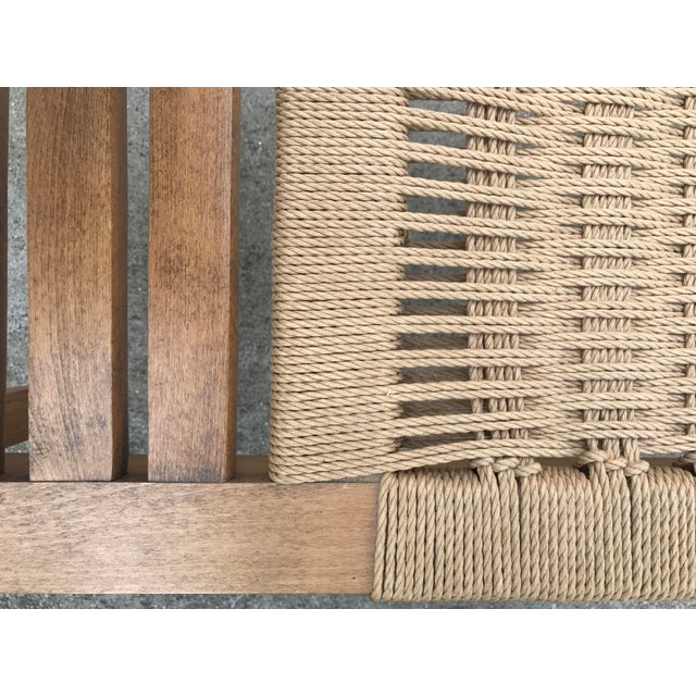 Hans Wegner Style Teak Woven Bench, 1970s For Sale - Image 4 of 8