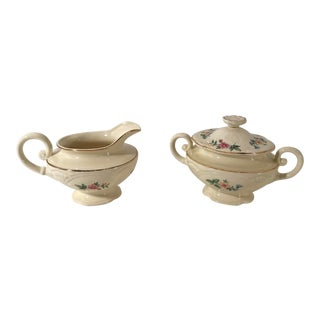Homer Laughlin Floral Creamer and Sugar Bowl For Sale