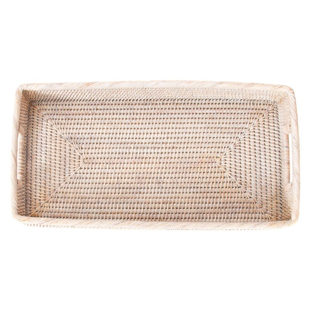 Artifacts Rattan Rectangular Tray with Rounded Corners For Sale - Image 4 of 5