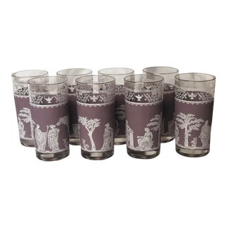 1960s Wedgwood Lilac Hellenic Jeanette Glasses - Set of 8 For Sale
