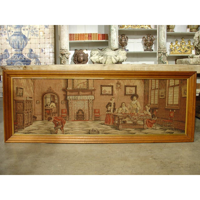 This fabulous French scene depicts the interior of two rooms in a chateau. This is an antique machine made tapestry that...