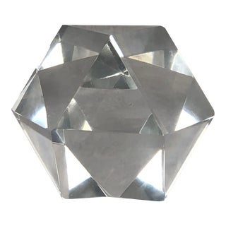 1970s Faceted Geometric Glass Sculpture Paperweight For Sale