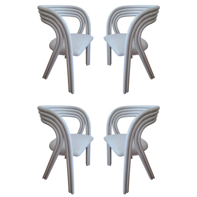 White Painted Dutch Bentwood Armchairs by Jan Des Bouvrie for Rohé Noor - Set of 4 For Sale - Image 10 of 10