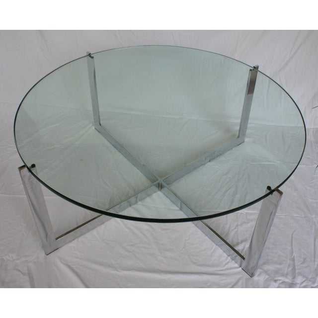 Milo Baughman Milo Baughman Chrome & Glass Round Coffee Table For Sale - Image 4 of 11